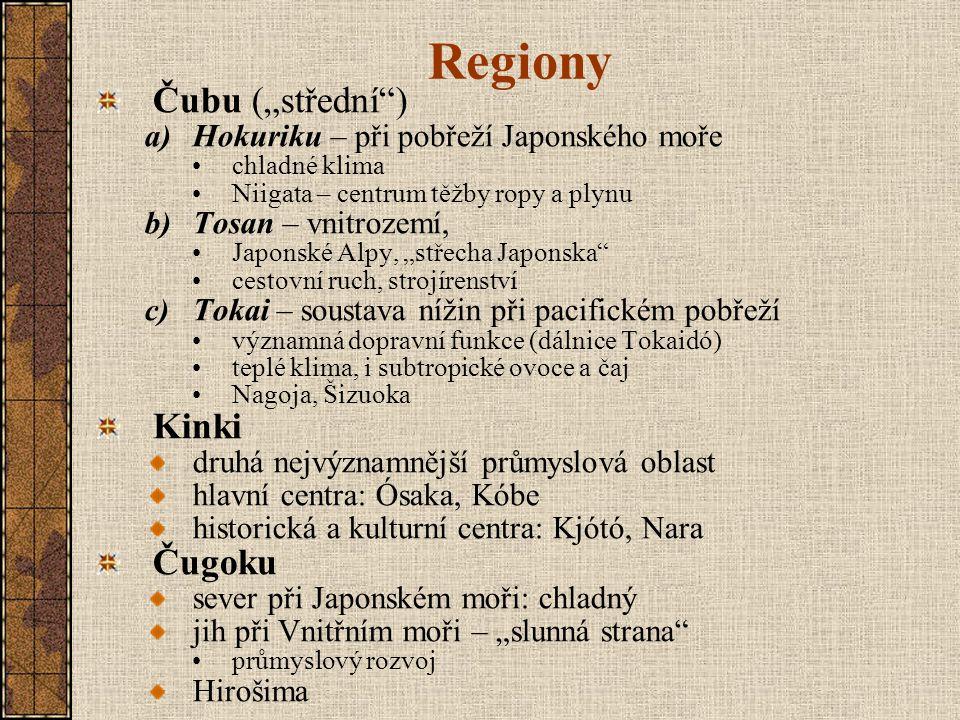 """Regiony Čubu (""""střední ) Kinki Čugoku"""