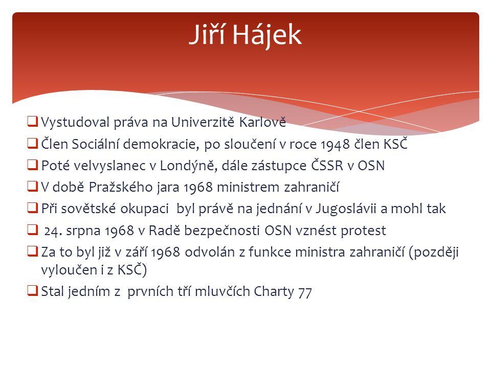 Jiří Hájek Vystudoval práva na Univerzitě Karlově