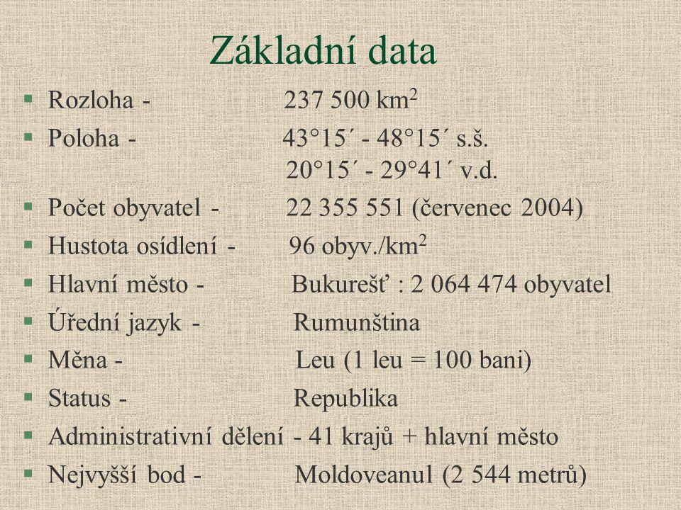 Základní data Rozloha - 237 500 km2