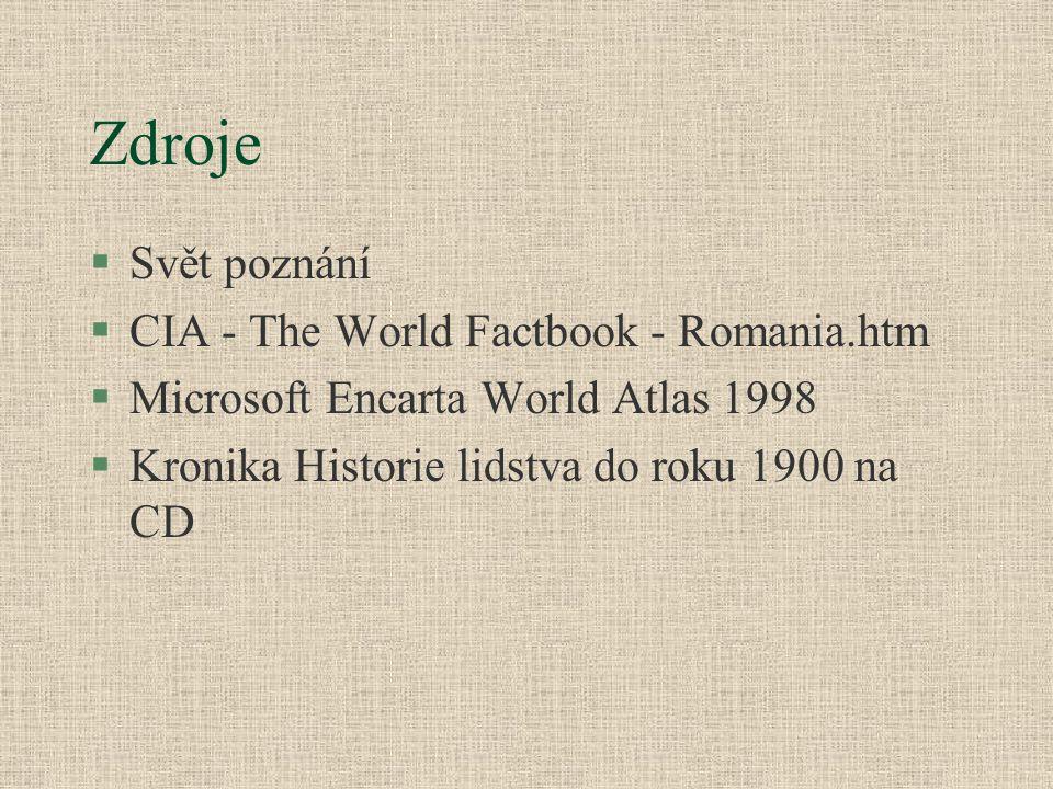 Zdroje Svět poznání CIA - The World Factbook - Romania.htm