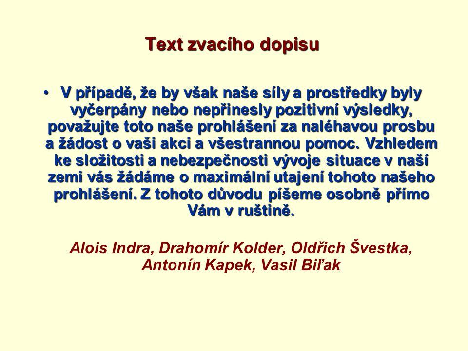 Text zvacího dopisu