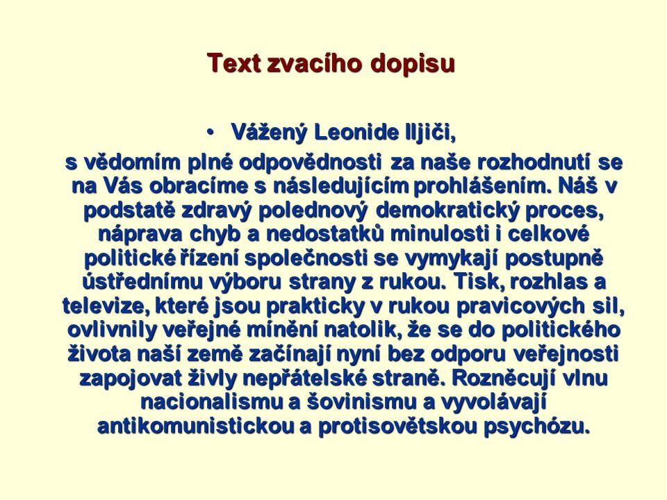 Text zvacího dopisu Vážený Leonide Iljiči,