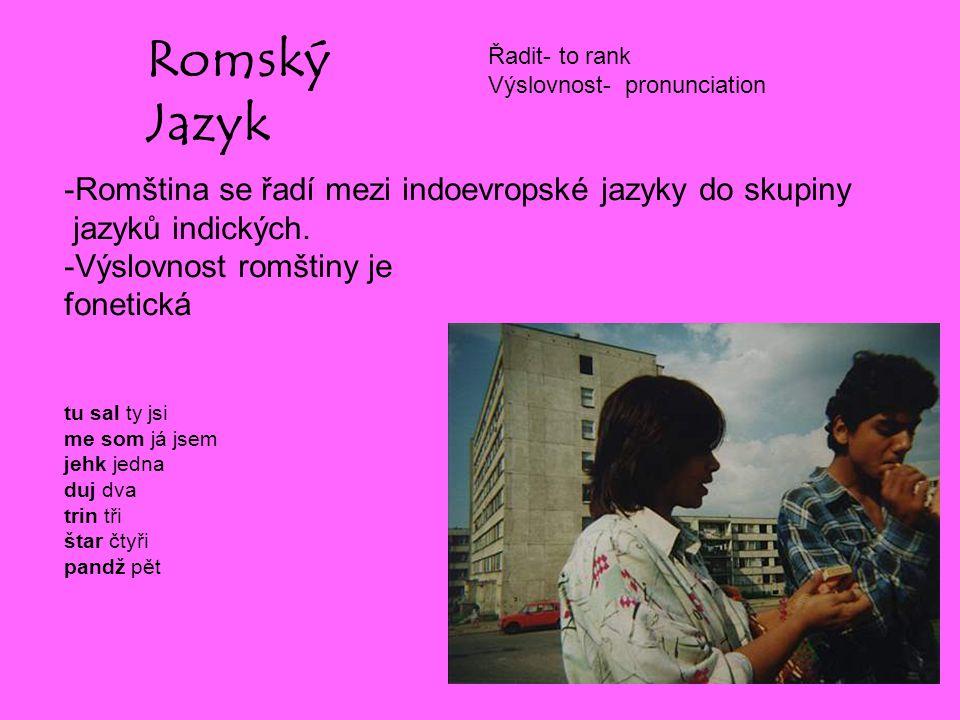 Romský Jazyk -Romština se řadí mezi indoevropské jazyky do skupiny