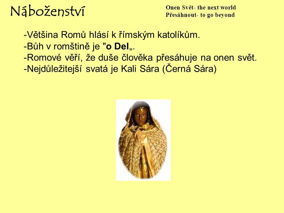 Náboženství -Většina Romů hlásí k římským katolíkům.