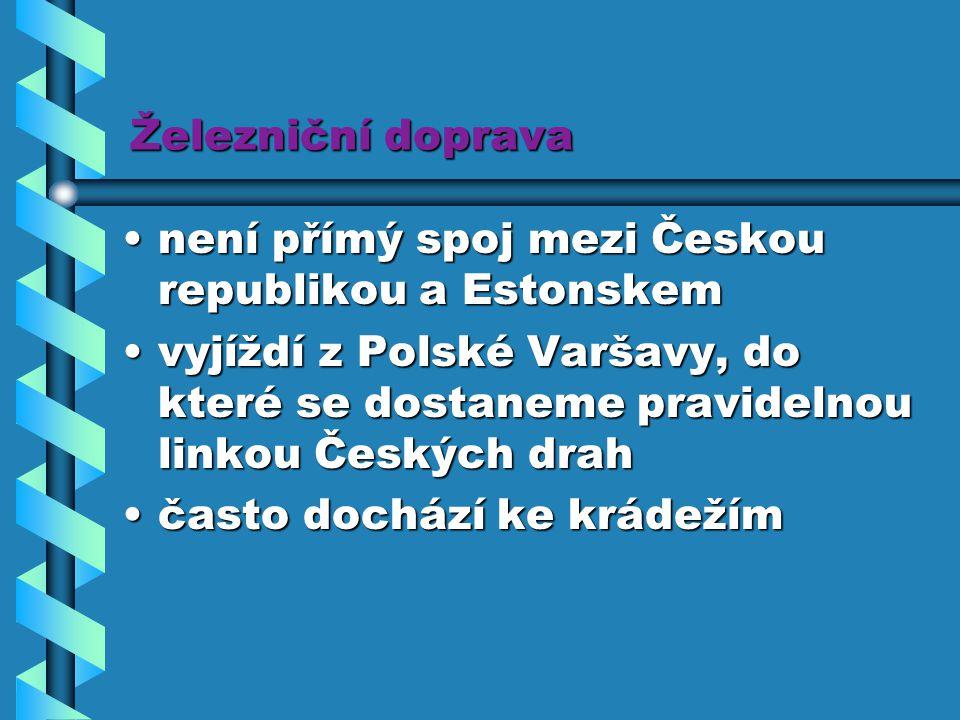 Železniční doprava není přímý spoj mezi Českou republikou a Estonskem.