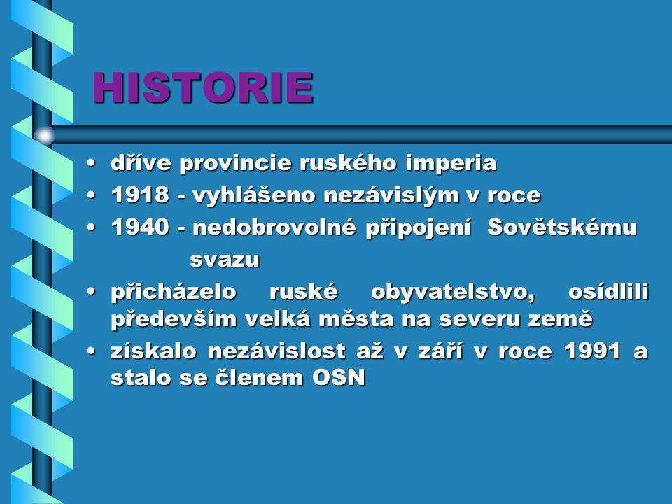 HISTORIE dříve provincie ruského imperia