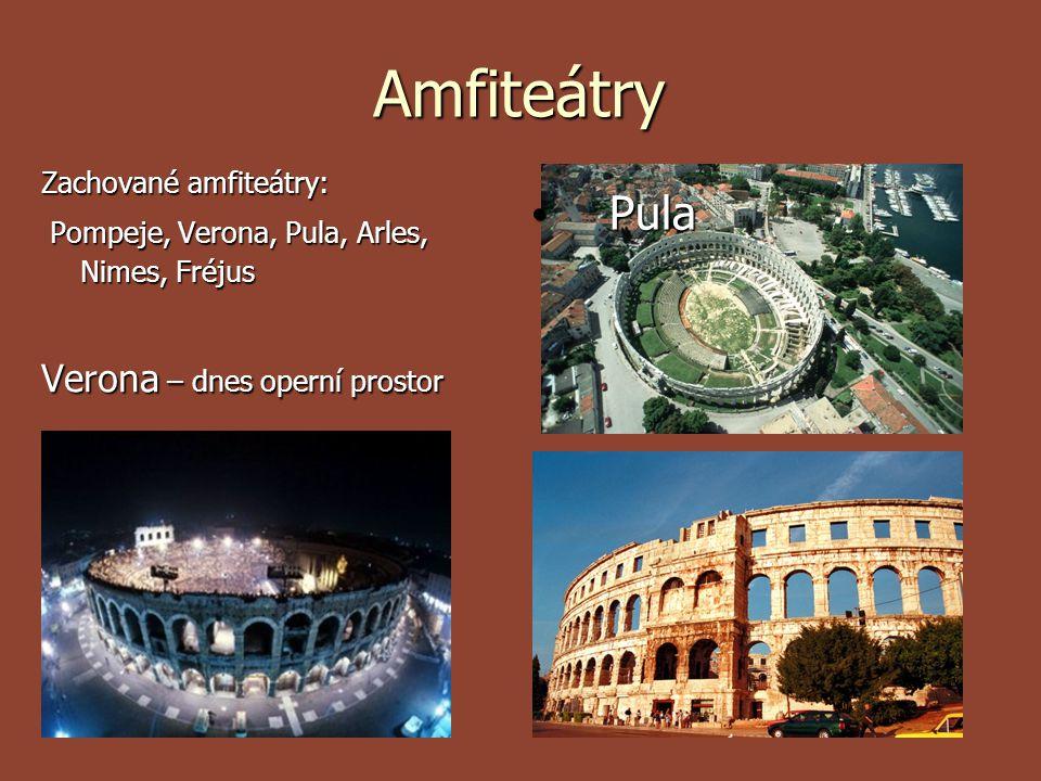 Amfiteátry Pula Verona – dnes operní prostor Zachované amfiteátry: