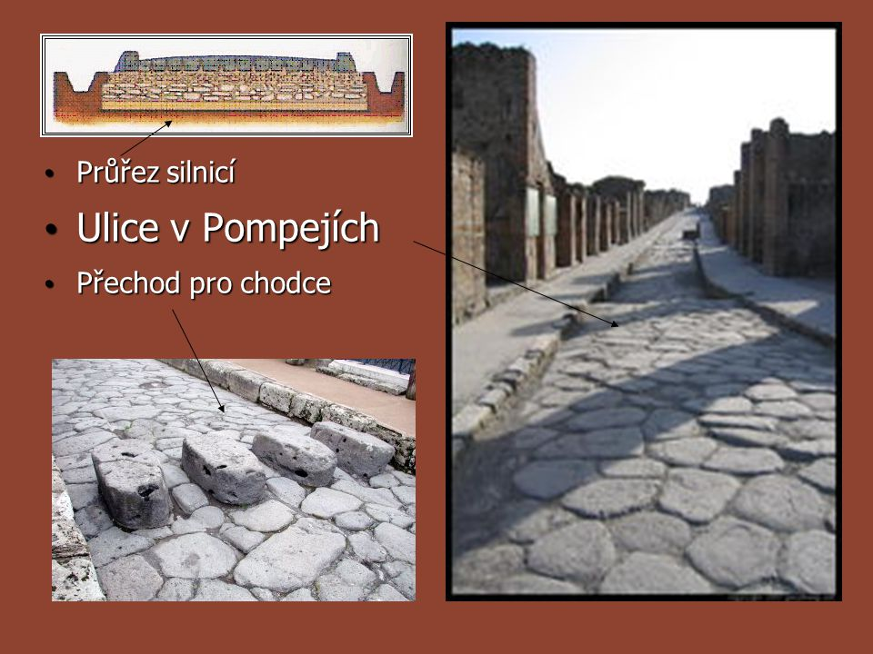 Průřez silnicí Ulice v Pompejích Přechod pro chodce