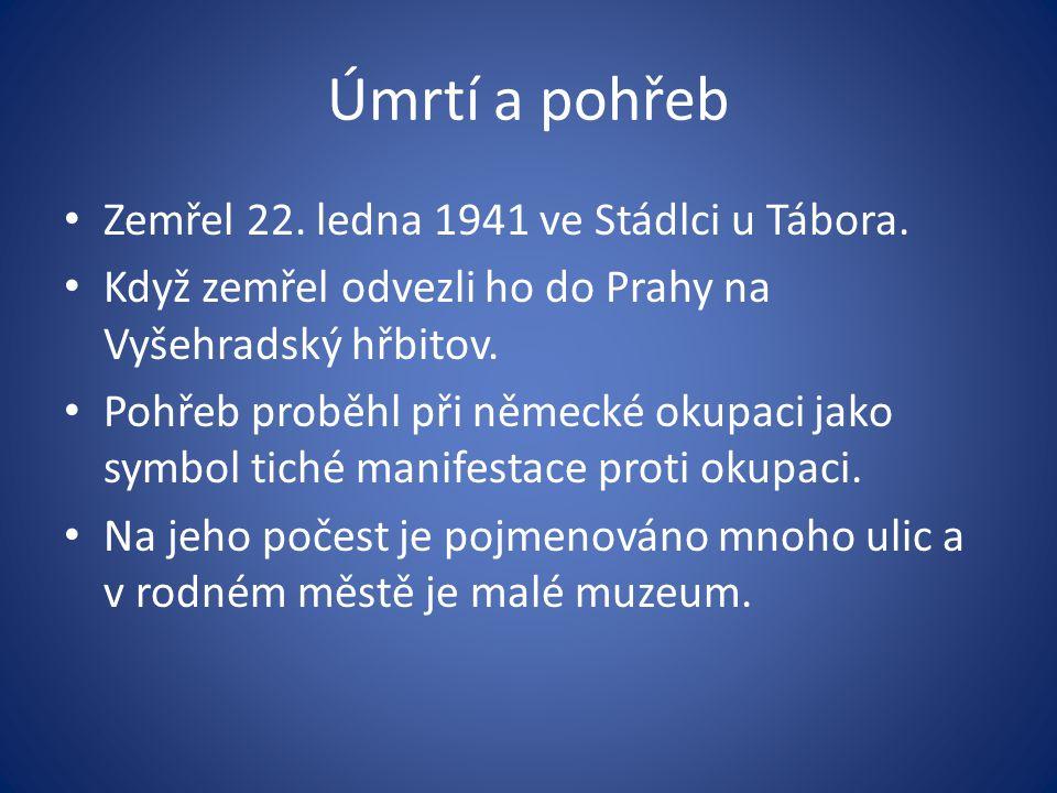 Úmrtí a pohřeb Zemřel 22. ledna 1941 ve Stádlci u Tábora.