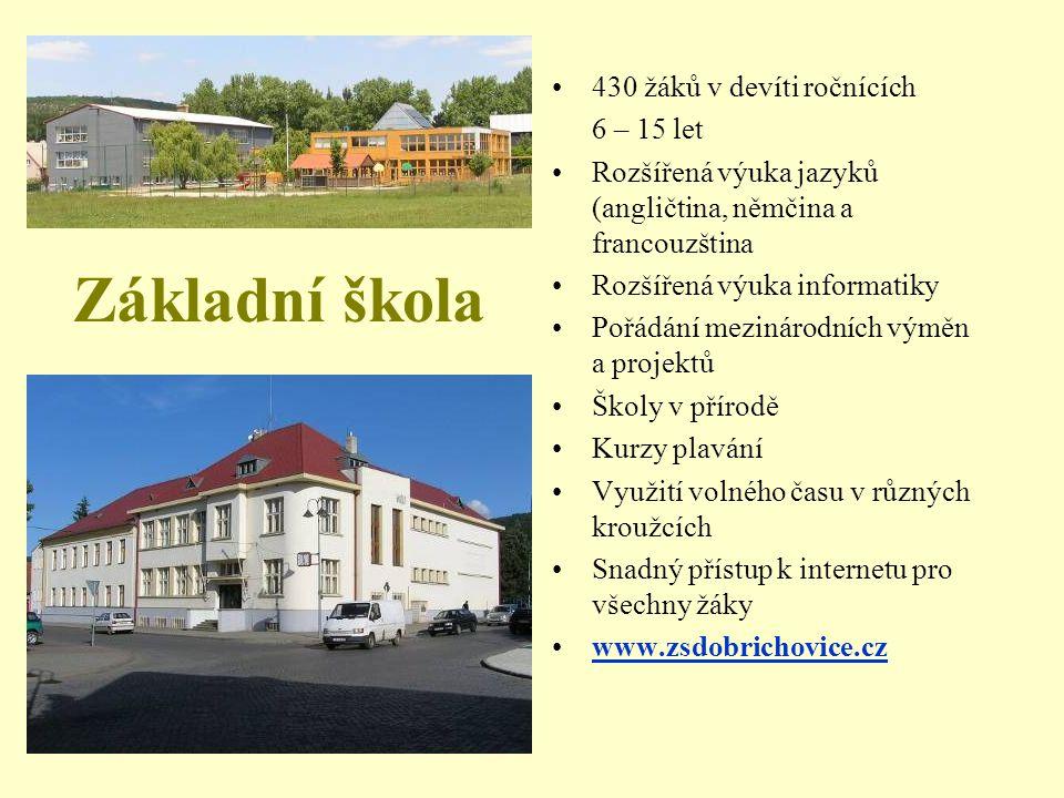 Základní škola 430 žáků v devíti ročnících 6 – 15 let