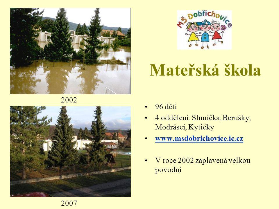 Mateřská škola 2002. 96 dětí. 4 oddělení: Sluníčka, Berušky, Modrásci, Kytičky. www.msdobrichovice.ic.cz.
