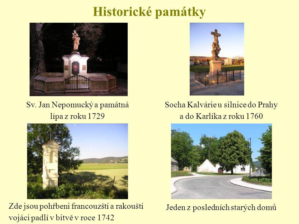 Historické památky Sv. Jan Nepomucký a památná lípa z roku 1729