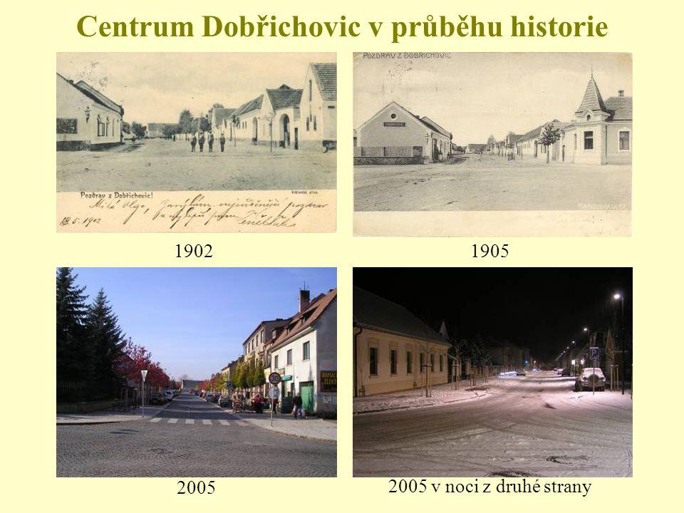 Centrum Dobřichovic v průběhu historie