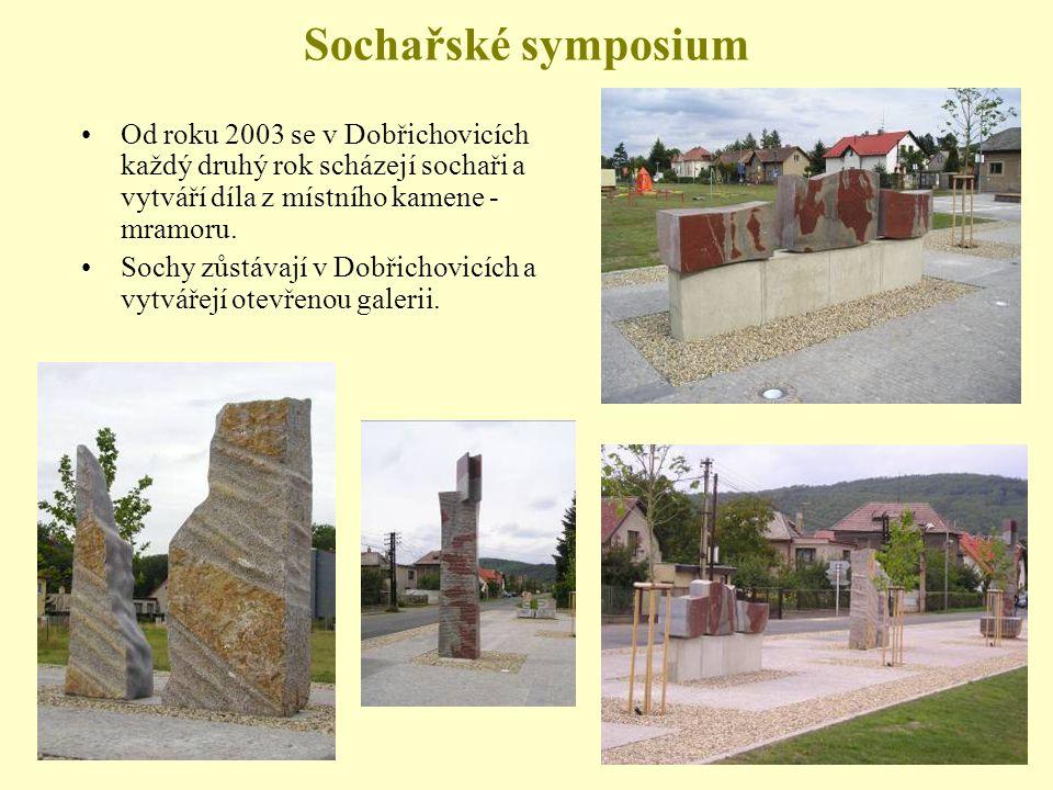 Sochařské symposium Od roku 2003 se v Dobřichovicích každý druhý rok scházejí sochaři a vytváří díla z místního kamene - mramoru.