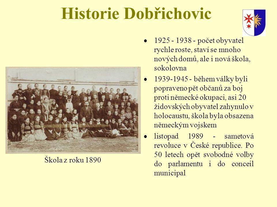 Historie Dobřichovic 1925 - 1938 - počet obyvatel rychle roste, staví se mnoho nových domů, ale i nová škola, sokolovna.