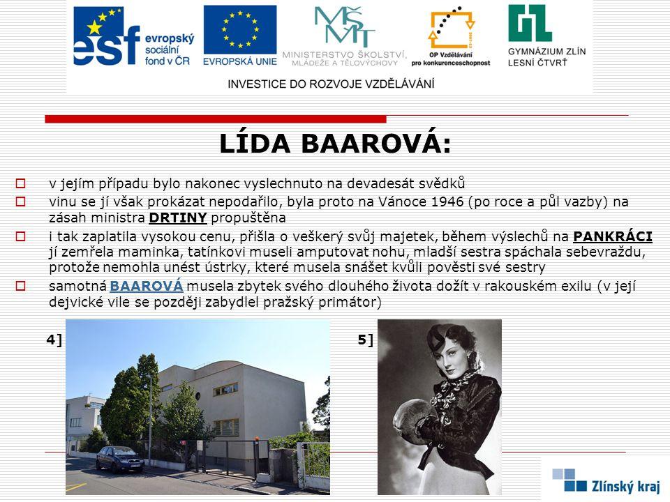 LÍDA BAAROVÁ: v jejím případu bylo nakonec vyslechnuto na devadesát svědků.