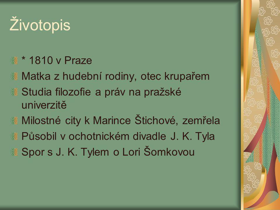 Životopis * 1810 v Praze Matka z hudební rodiny, otec krupařem