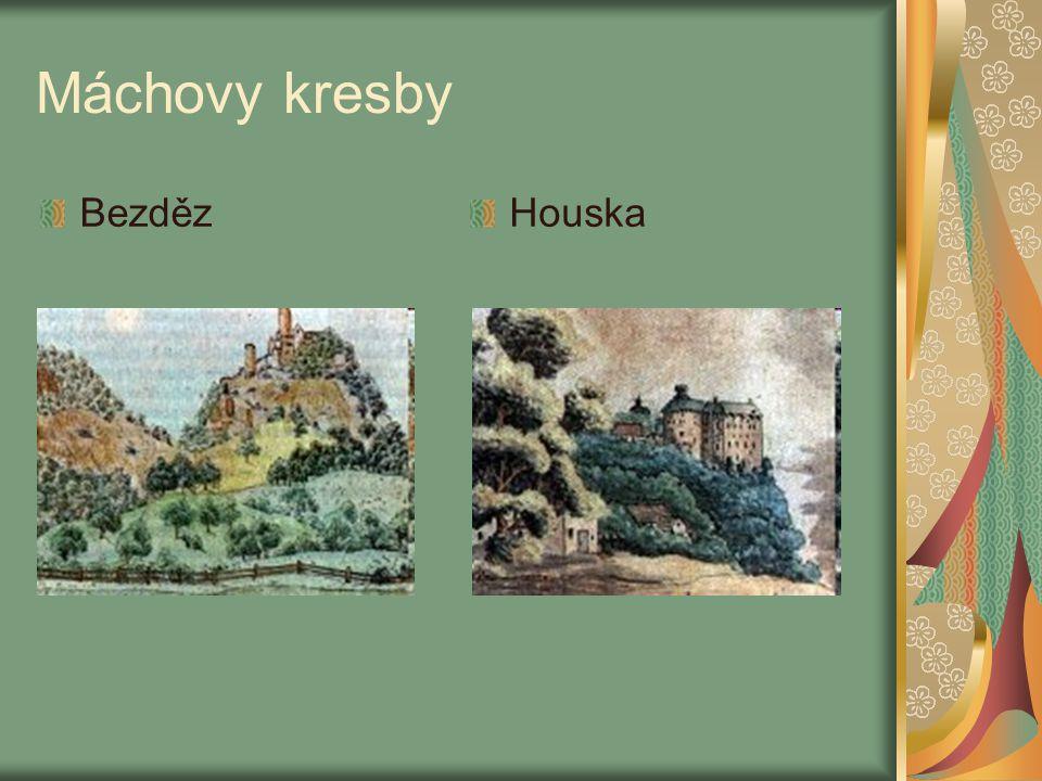 Máchovy kresby Bezděz Houska