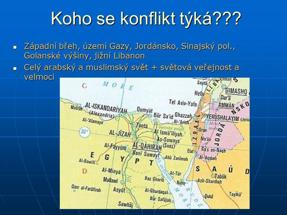 Koho se konflikt týká Západní břeh, území Gazy, Jordánsko, Sinajský pol., Golanské výšiny, jižní Libanon.