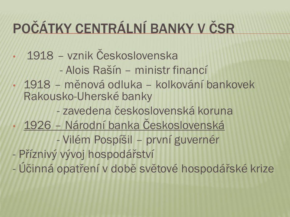 Počátky Centrální banky v ČSR