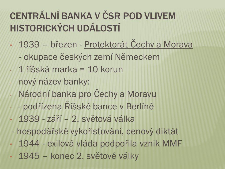 Centrální banka v čsr pod vlivem historických událostí