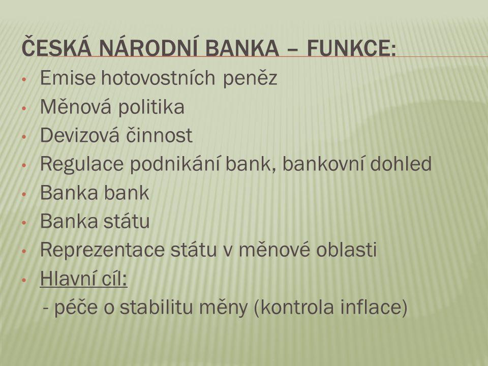Česká národní banka – funkce: