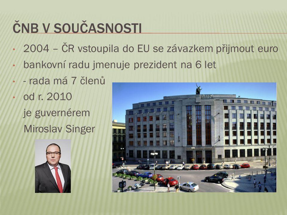 ČNB v současnosti 2004 – ČR vstoupila do EU se závazkem přijmout euro