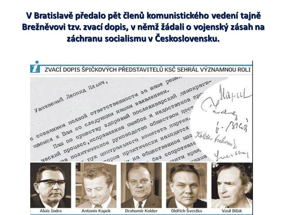 V Bratislavě předalo pět členů komunistického vedení tajně Brežněvovi tzv.