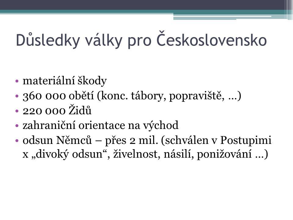 Důsledky války pro Československo