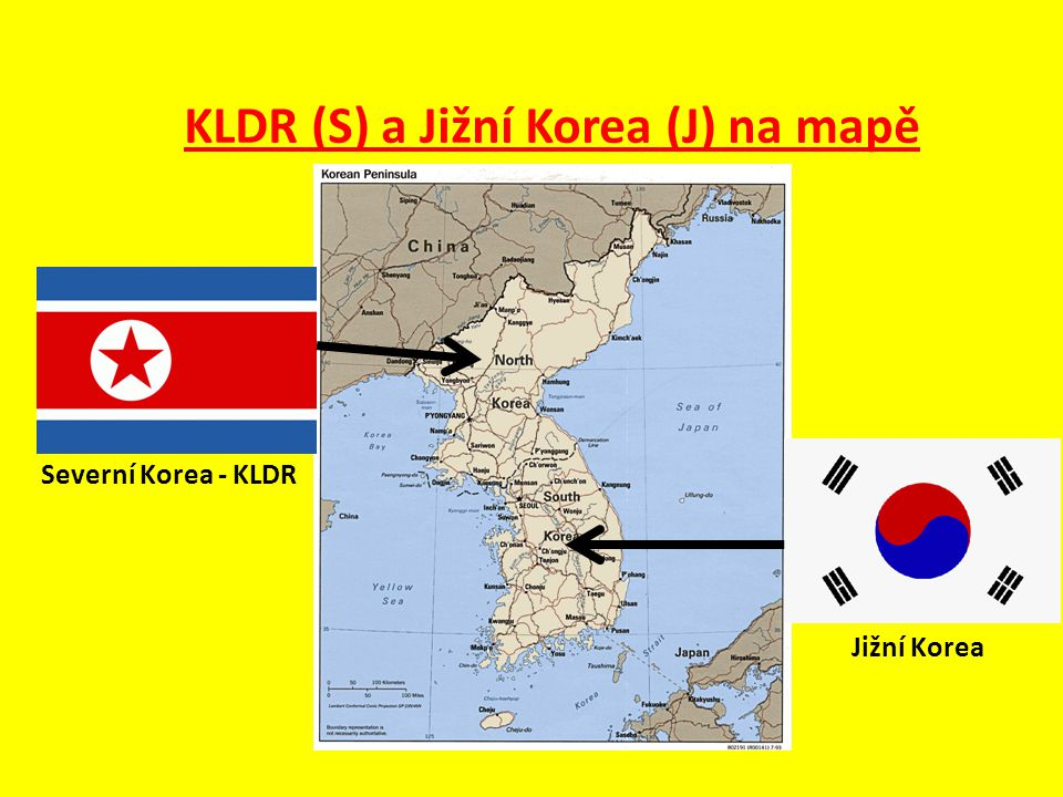 KLDR (S) a Jižní Korea (J) na mapě