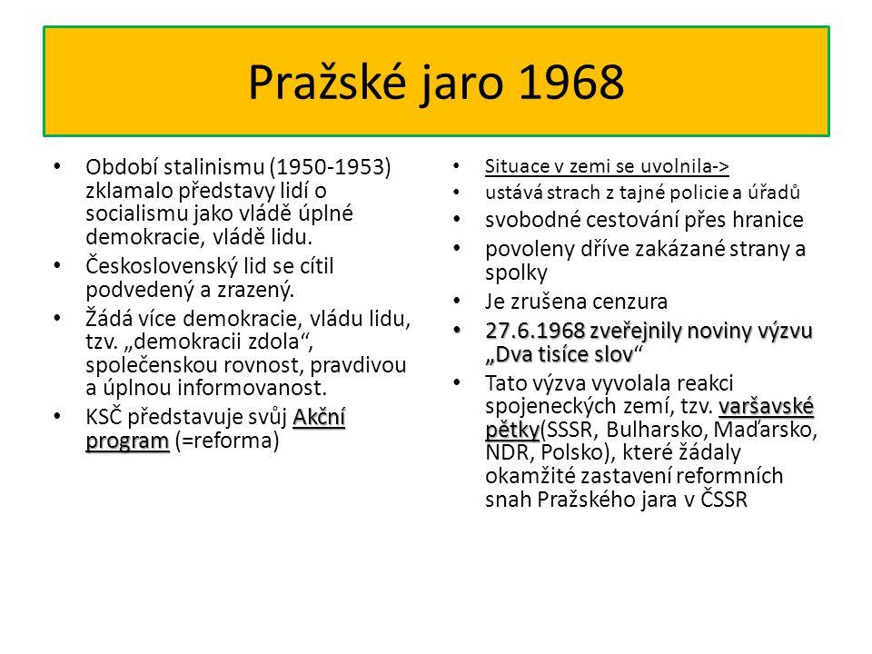 Pražské jaro 1968 Období stalinismu (1950-1953) zklamalo představy lidí o socialismu jako vládě úplné demokracie, vládě lidu.