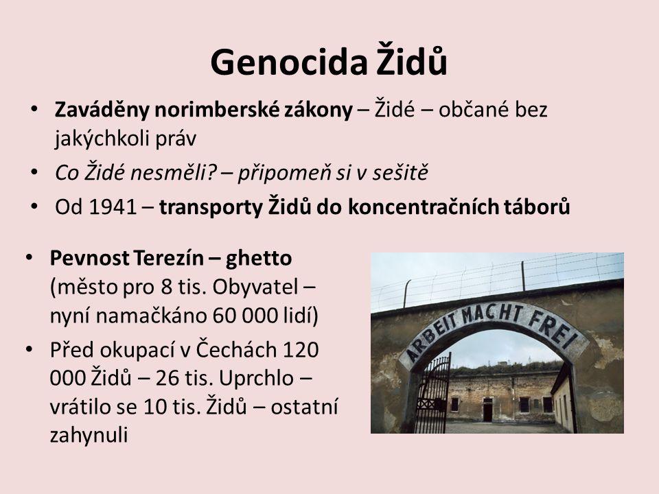 Genocida Židů Zaváděny norimberské zákony – Židé – občané bez jakýchkoli práv. Co Židé nesměli – připomeň si v sešitě.