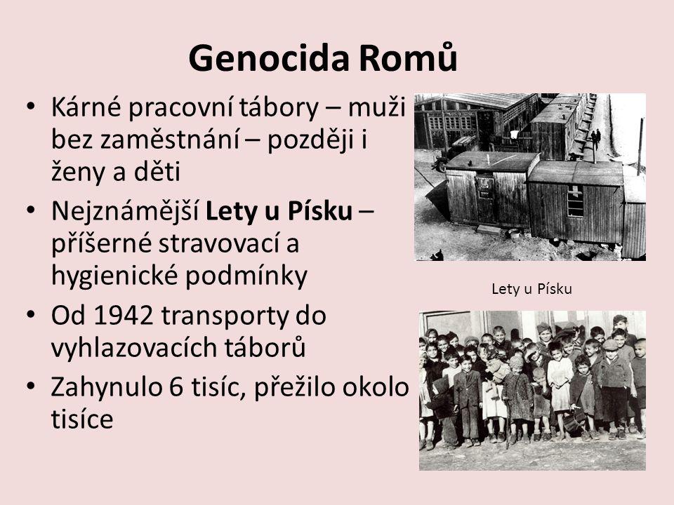 Genocida Romů Kárné pracovní tábory – muži bez zaměstnání – později i ženy a děti.