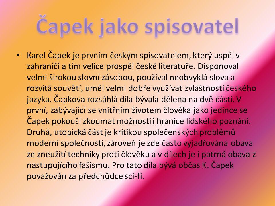 Čapek jako spisovatel