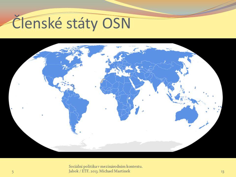 Členské státy OSN 5. Sociální politika v mezinárodním kontextu.