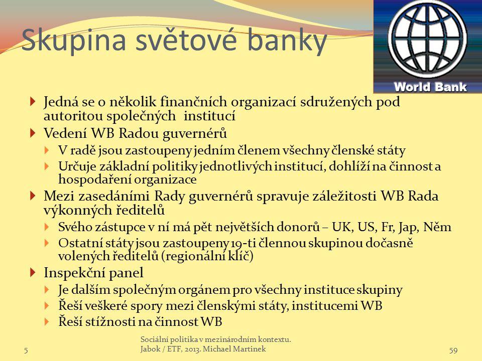 Skupina světové banky Jedná se o několik finančních organizací sdružených pod autoritou společných institucí.