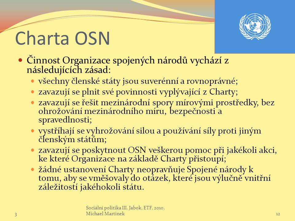 Charta OSN Činnost Organizace spojených národů vychází z následujících zásad: všechny členské státy jsou suverénní a rovnoprávné;