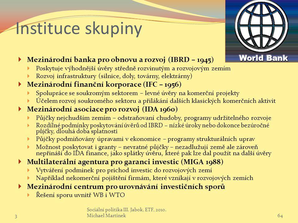 Instituce skupiny Mezinárodní banka pro obnovu a rozvoj (IBRD – 1945)