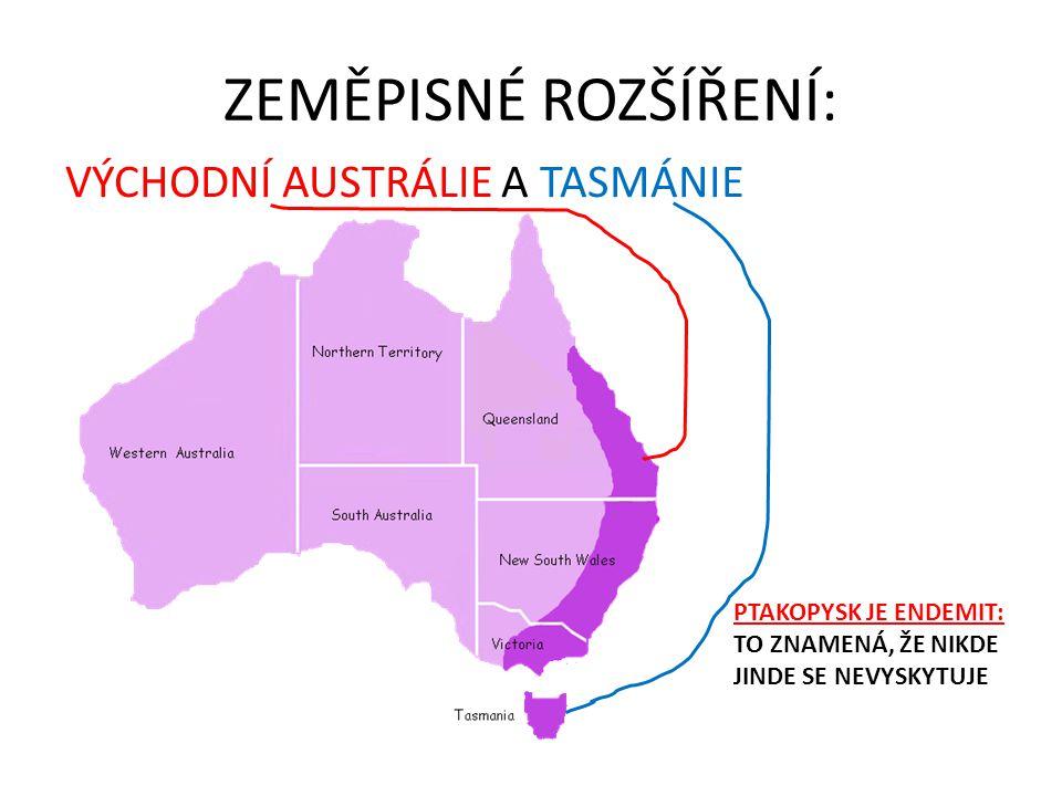 ZEMĚPISNÉ ROZŠÍŘENÍ: VÝCHODNÍ AUSTRÁLIE A TASMÁNIE