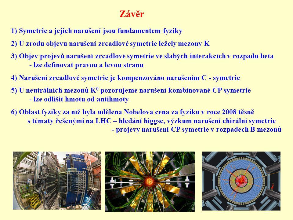 Závěr 1) Symetrie a jejich narušení jsou fundamentem fyziky