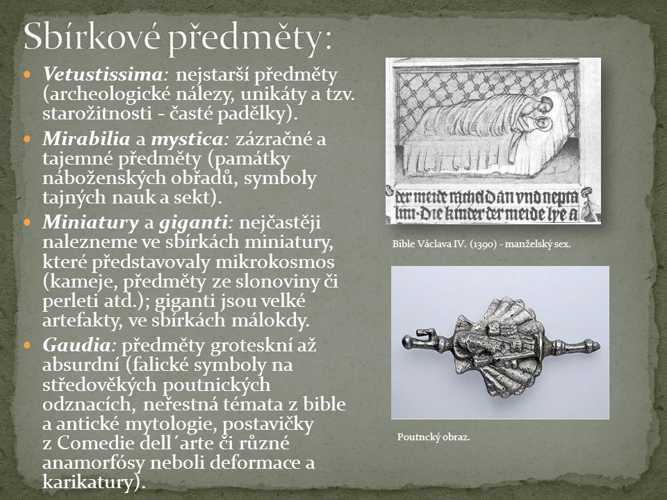 Sbírkové předměty: Vetustissima: nejstarší předměty (archeologické nálezy, unikáty a tzv. starožitnosti - časté padělky).