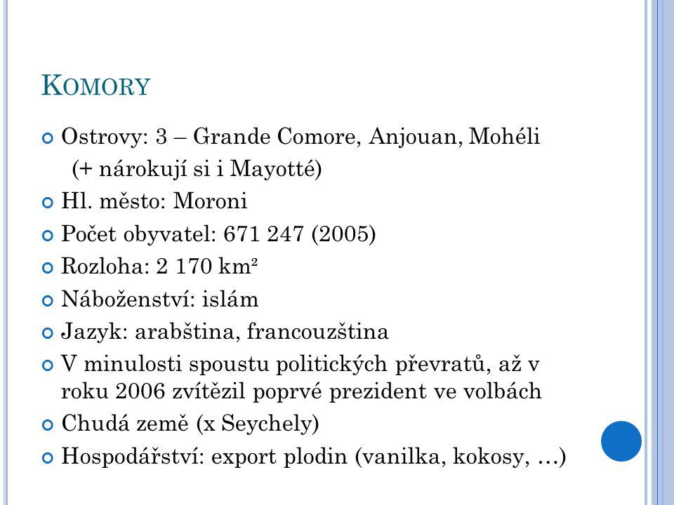 Komory Ostrovy: 3 – Grande Comore, Anjouan, Mohéli