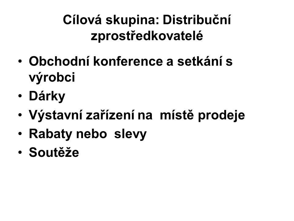 Cílová skupina: Distribuční zprostředkovatelé