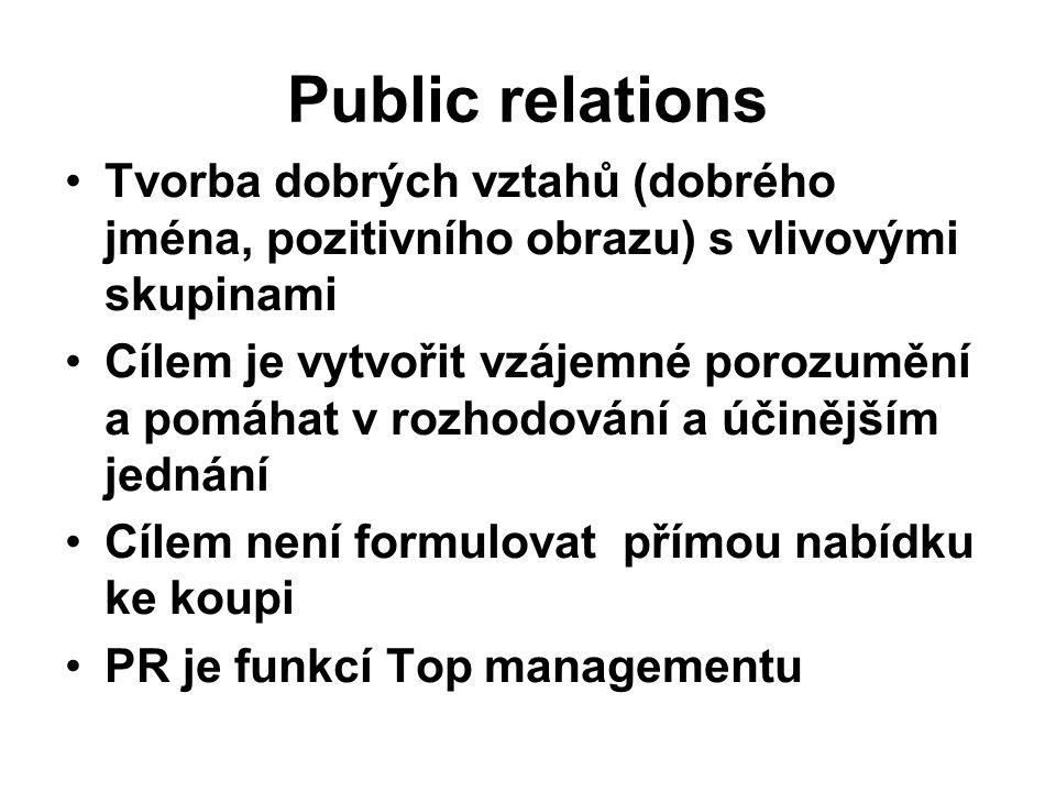 Public relations Tvorba dobrých vztahů (dobrého jména, pozitivního obrazu) s vlivovými skupinami.