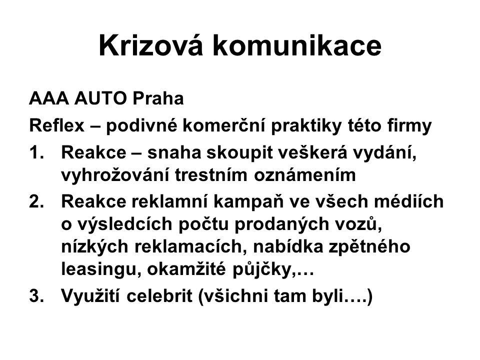 Krizová komunikace AAA AUTO Praha