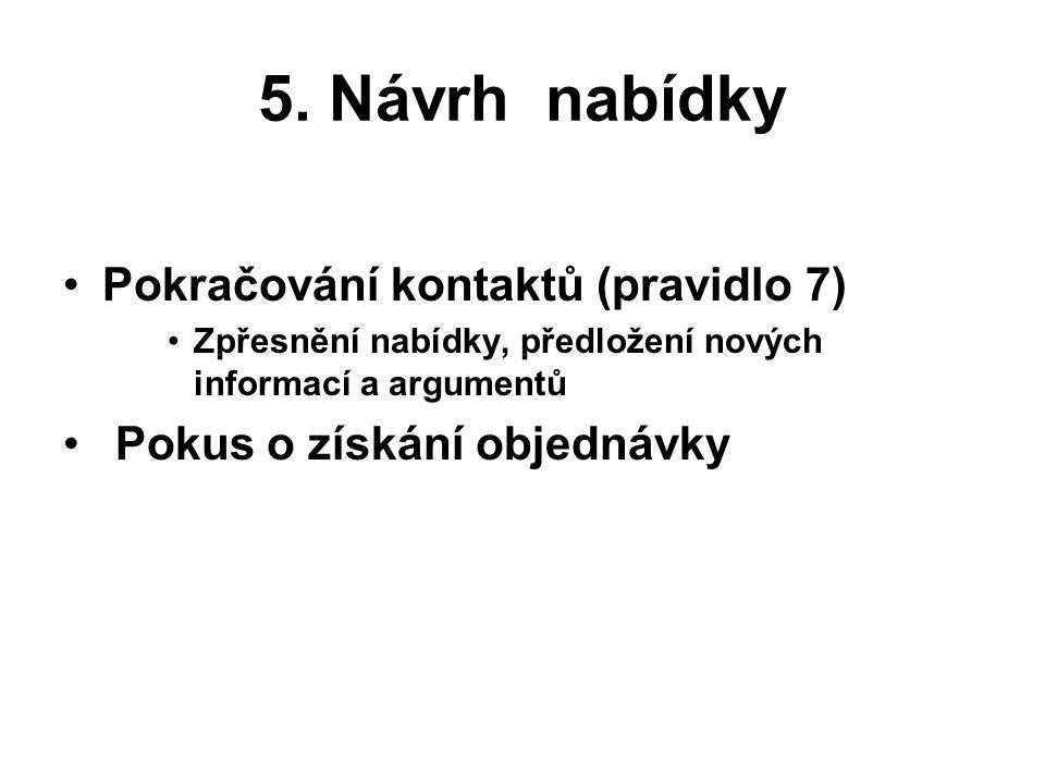 5. Návrh nabídky Pokračování kontaktů (pravidlo 7)