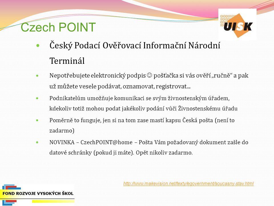 Czech POINT Český Podací Ověřovací Informační Národní Terminál