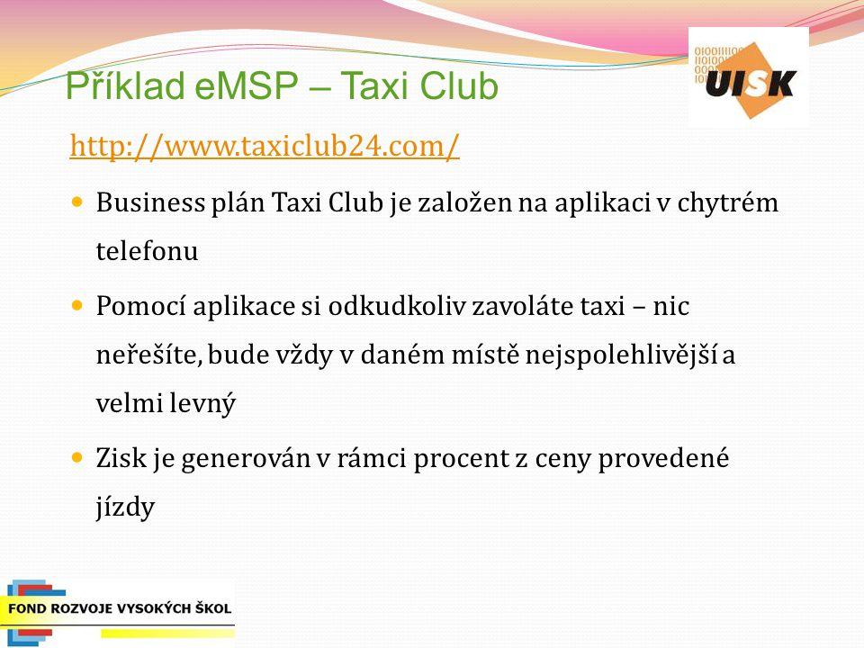 Příklad eMSP – Taxi Club
