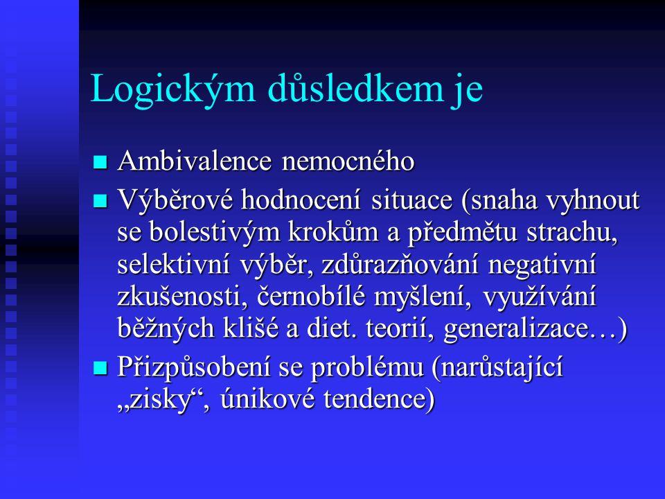 Logickým důsledkem je Ambivalence nemocného