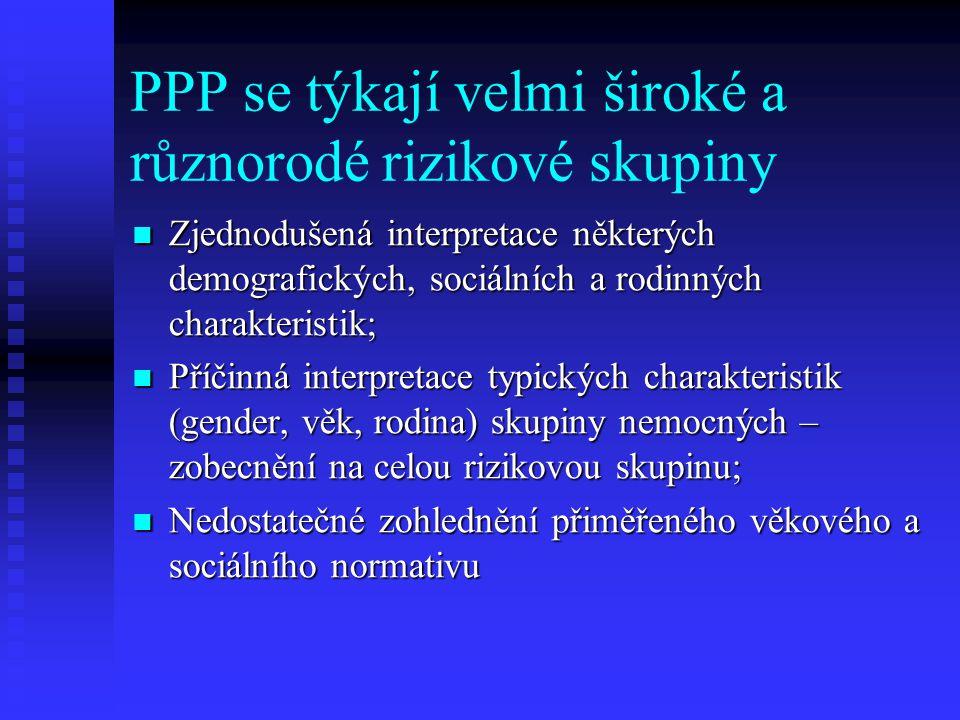 PPP se týkají velmi široké a různorodé rizikové skupiny